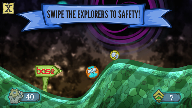 Swipe the explorers to safety!